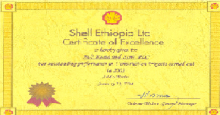 Shell Ethiopia Ltd Certificate of Excellence