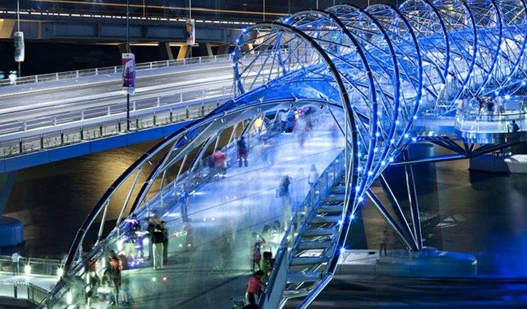 Double helix bridge innovative engineering in singopore for Design bridge singapore